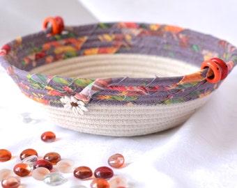 Plum Desk Accessory, Natural Clothesline Basket, Handmade Plum Basket, Brush Holder, Makeup Organizer, Coiled Fabric Basket