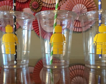 Lego man inspired plastic cups 60 cups (16oz) ... Great for parties, birthdays, celebrations