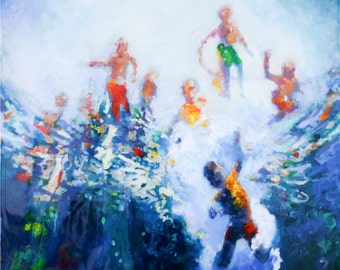 Large colorful wall art decor archival art print of abstracted painting Jumping off the Dock warm colorful giclee art print of Painting