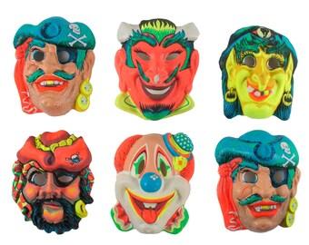 Set of 6 Halloween Masks // Vintage 1960's // Zest // Black Light Reactive