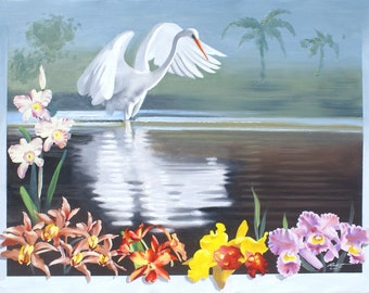 Great White Egret oil painting 30x40 (76.2 x 101.6 cm) by RUSTY RUST / E-192