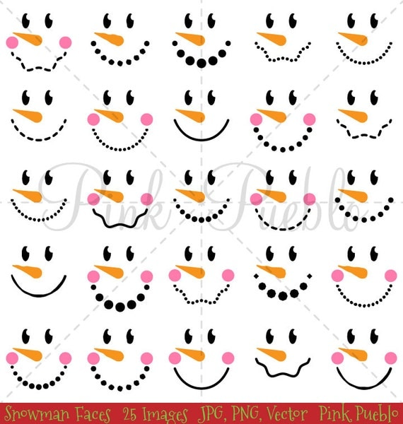 Delicate image in free printable snowman faces