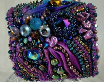 Supercalifragilisticexpialidocious!  SHEER DECADENCE; Purple Shibori silk ribbon bead embroidered statement cuff Pearls, Swarovski crystals