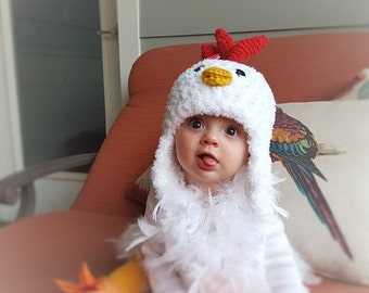 Baby Hat - Chicken Hat - Baby Hat -  Baby Chicken Hat -  Chicken Hat - Soft Baby Costume Hat - by JoJosBootique