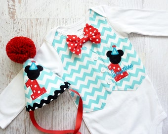 Personalized Mickey Mouse First Birthday Tuxedo Bodysuit Vest with Removable Matching Bow Tie