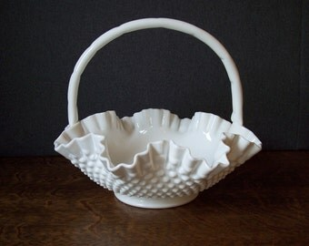 VMilk Glass Hobnail Large Ruffled Edge Basket by Fenton Glass