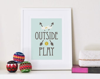 Art Print | Go Outside and Play | Nursery Art | Adventure & Outdoors | Kids, Children