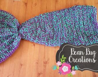 Crocheted Mermaid Tail Blanket, Kid's Mermaid Tail Blanket, Adult Mermaid Cocoon
