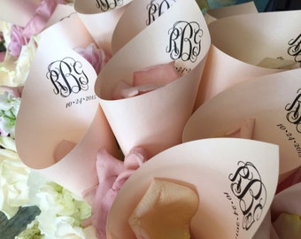 Monogram Wedding Petal Favor Cones (Shown in Coral)