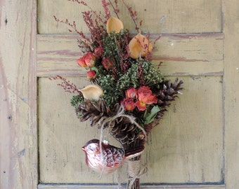 Dried Flower Bouquet Floral Arrangement Christmas Holiday Winter Glass Bird Ornament Roses Pine Cones Seed Pods Free Lavender Sachet