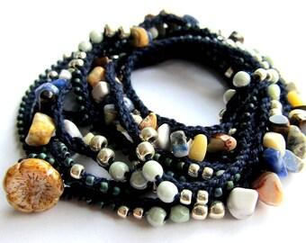 "Crochet wrap beaded bracelet / necklace, ""midnight"",  boho necklace, bohemian jewelry, crochet jewelry, spring fashion, boho wedding, ooak"