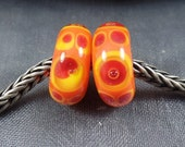 BHB, Big Hole Bead, Handmade Lampwork Glass Bead, with or without silver lined 925 core,  6.5/7x15mm