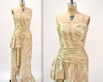 Vintage Metallic Evening Gown By Victor Costa Gold Silver Cream Medium// 70s 80s Vintage Wedding Dress Metallic Gown Gold Silver Cream Dress