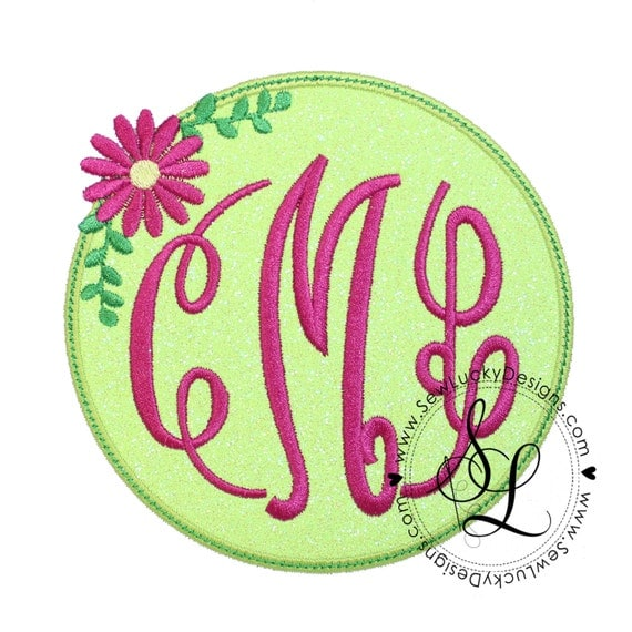 Monogram circle frame applique design machine embroidery