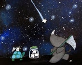 Original Nursery Art Whimsical Star Catching Rhino and Mouse Starry Sky Acrylic Painting for Children Baby Storybook Playroom Artwork