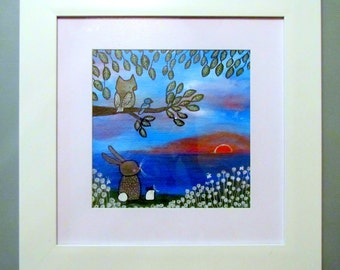 ON SALE Framed Original Kids Wall Art Woodland Nursery Painting Owl Bunny Mouse Sunset Sky Whimsical Storybook Style Artwork for Children
