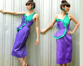 1980's Cocktail Dress with Asymmetrical Ruffle and Beaded Detail - Green and Purple Mardi Gras size 2/4