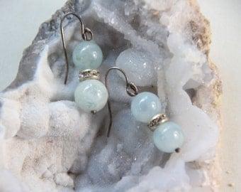 Aquamarine Gemstone Blue Gemstone Ball and Rhinestone Earrings with Sterling Silver Hooks 9mm