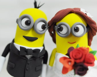Minions Custom Wedding Cake Topper, Minions Topper, Funny Topper, Bride and groom cake topper