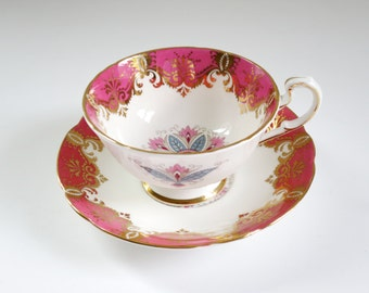 Vintage Paragon Pink Fine Bone China Tea Cup and Saucer, Pink Snowflake Medallion Pattern w Gold Gilt, England Bone China