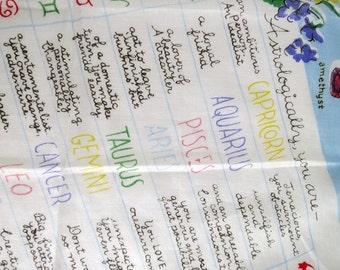 Vintage Astrology Zodiac Hankie Handkerchief by Burmel, Celestial Handkerchief, Halloween Cotton Novelty Hankie, Tarot Card Wrap