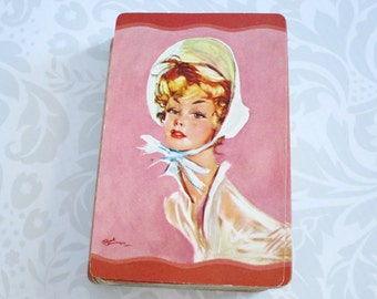 Vintage Playing Card Deck 1950s Portrait, Whitman Card Deck Lady in a Bonnet, Retro Swap or Play Deck