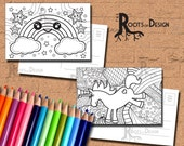 INSTANT DOWNLOAD Coloring Postcard Page - Rainbow and Unicorn Color your own fun Postcards or mini Prints, printable, Coloring Postcards