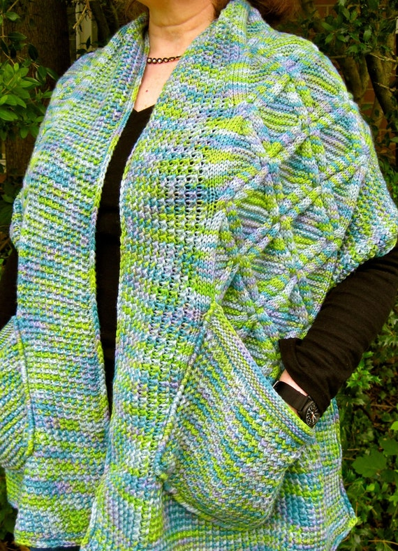 Knitting Pattern For A Shawl With Pockets : Knit Shawl Pattern: Warm Kilkenny Pocket Shawl Knitting