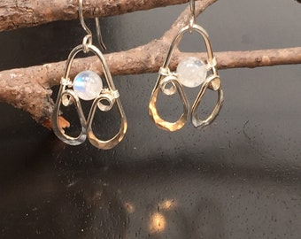 Moonstone Statement Earrings Hand Forged Silver by JeanineDesigns