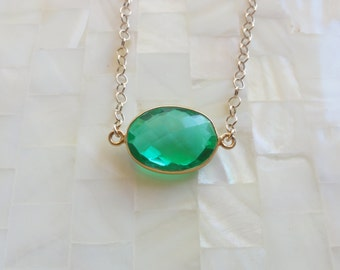 Step-Cut Faceted Green Quartz Vermeil Bezel Oval Connector on Gold Chain Necklace (N1680)