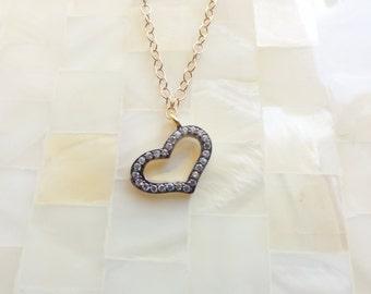 Oxidized Vermeil CZ Pave Open Heart Pendant on Gold Chain Necklace (N1698)