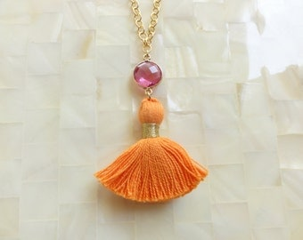 Rainbow Sherbet Faceted Hot Pink Quartz Vermeil Bezel Connector and Orange Cotton Tassel on Gold Chain Necklace (N1716)