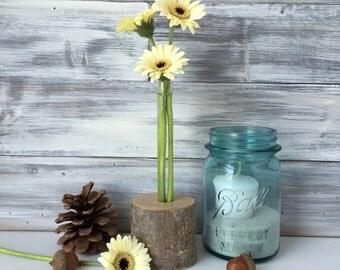Rustic test tube vase, flower bud vase, single flower, tree branch vase
