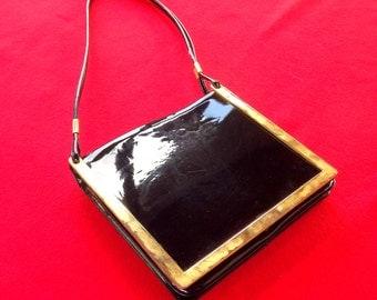 Black Shoulder Bag, Black and Gold Designer Handbag, Womens Vintage Purse, Evening Bag, Patent Leather Bag