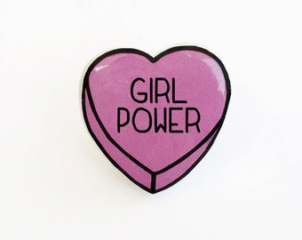 Girl Power - Anti Conversation Heart Pin Brooch Badge