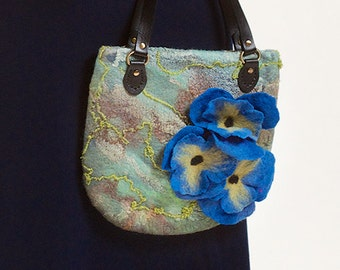 Wool nuno felted purse blue pansy, OOAK handmade, 3D Flowers handbag,