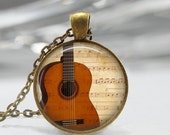 ON SALE Guitar Necklace Sheet Music Jewelry Acoustic Guitar Art Pendant in Bronze or Silver with Link Chain Included