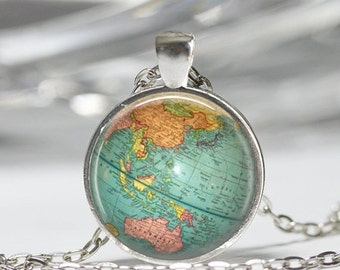 ON SALE Vintage Globe Necklace Planet Earth World Map Art Pendant in Bronze or Silver with Link Chain Included