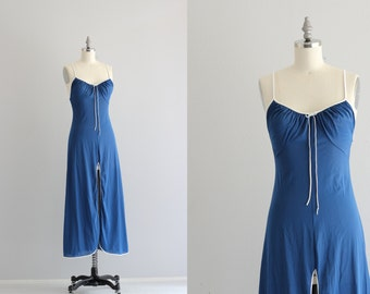Vintage Nightgown . Split Front Night Gown . Royal Blue 1970s 70s Lingerie