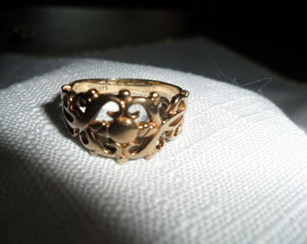 Antique Ornate 9K Gold Band Ring Size 8