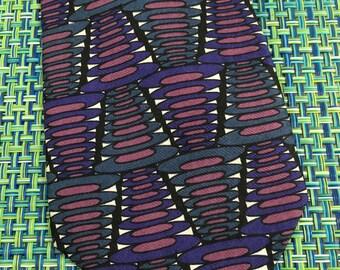 Vintage Mens Talivari Purple & Black Geometric Wide Silk Necktie - vintage necktie, Talivari necktie, wide mens necktie,geometric necktie