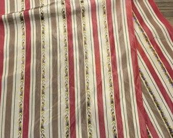 Vintage Silk Oblong Pink Stripe Brocade Scarf with Fringe -oblong scarf, brocade scarf, fringe scarf, ponytail scarf, pink stripe scarf