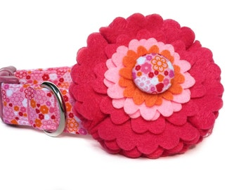 Pink Orange Dog Collar & Flower / Flower dog collar / Pink Flower dog collar / Dog Collar Flower / Girl Dog Collar / Felt Flower Dog Collar