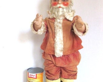 SANTA Doll Antique Christmas Decoration Hand painted Face 18.5 inches Tall