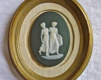 French Limoges Cameo Women Classical Blue Bisque Porcelain Gold Frame Wall Hanging