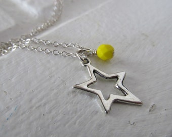 Star Necklace -Star Charm with an accent bead in your choice of colors
