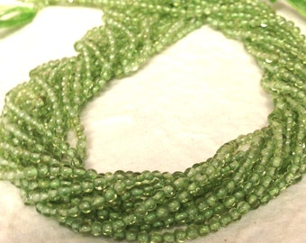 Itty Bitty Peridot Beads - 2mm Green Gemstones - Smooth Round Beads 14 inch Strand - August Birthstone G4