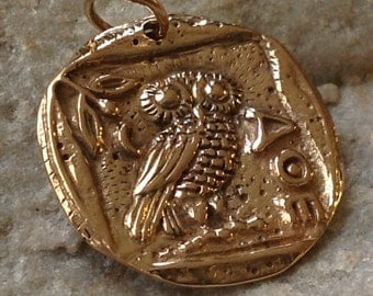 Athena's Owl Ancient Coin Golden BRONZE Charm AN1