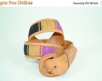 ON SALE 50% 70's Vintage SOUTHWESTERN Leather Navajo Print Small Belt