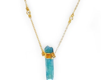 Aqua Aura Quartz Necklace with CZ accents - Aqua Aura necklace, delicate necklace, layering necklace, gemstone necklace